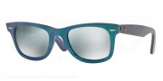Ray Ban RB2140F Sunglasses Sunglasses - 611330 Metallic Azure / Green Mirror Silver