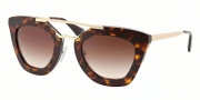 Prada PR 09QS Sunglasses Sunglasses - 2AU6S1 Havana / Brown Gradient Lens