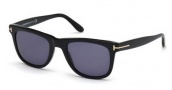 Tom Ford FT0336 Leo Sunglasses Sunglasses - 01V Shiny Black / Blue
