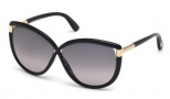 Tom Ford FT0327 Abbey Sunglasses Sunglasses - 01B Shiny Black / Gradient Smoke