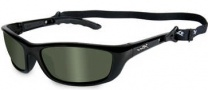 Wiley X WX P-17 Sunglasses Sunglasses - Gloss Black / Polarized Green Lens