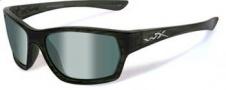 Wiley X WX Moxy Sunglasses Sunglasses - ssmox04 Olive Stripe / Polarized Green Platinum Flash