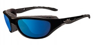 Wiley X Wx Airrage Sungasses Sunglasses - 698 Gloss Black / Polarized Blue Mirror