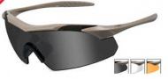 Wiley X WX Vapor Sunglasses Sunglasses - 3512 Tan / Smoke Grey, Clear, Light Rust