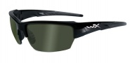 Wiley X WX Saint Sunglasses Sunglasses - CHSAI04 Gloss Black / Polarized Smoke Green Lens