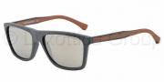Emporio Armani EA4001 Sunglasses Sunglasses - 51005A Dark Grey Rubber / Light Brown Mirror Dark Gold