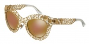 Dolce & Gabbana DG2134 Sunglasses Sunglasses - 02/F9 Antique Gold / Brown Mirror Gold Lens