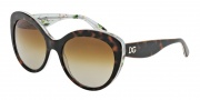 Dolce & Gabbana DG4236 Sunglasses Sunglasses - 2841T5 Havana / Aqua Peach Flowers / Polarized Brown Gradient
