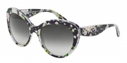 Dolce & Gabbana DG4236 Sunglasses Sunglasses - 28428G Black Peach Flowers / Grey Gradient