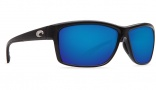 Costa Del Mar Mag Bay Sunglasses Shiny Black Frame Sunglasses - Blue Mirror Glass / 400G