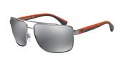 Empori Armani EA2018 Sunglasses Sunglasses - 30106G Gunmetal / Light Grey Mirror Black