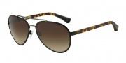 Emporio Armani EA2024 Sunglasses Sunglasses - 300113 Matte Black / Pale Gold / Brown Gradient