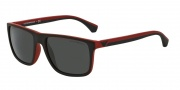 Emporio Armani EA4033 Sunglasses Sunglasses - 532487 Black / Red Rubber / Grey