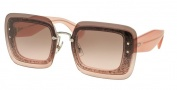 Miu Miu 01RS Sunglasses Sunglasses - UEU1E2 Transparent Pink Glitter / Pink Gradient Grey