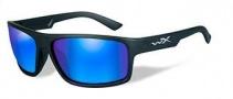 Wiley X WX Peak Sunglasses Sunglasses - Matte Black / Polarized Blue Mirror