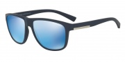 Armani Exchange AX4052S Sunglasses Sunglasses - 818155 Matte Blue / Blue Mirror Blue