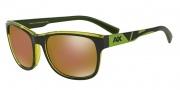 Armani Exchange AX4036F Sunglasses Sunglasses - 814373 dk Grey/ Green Apple Trans / Gold Mirror